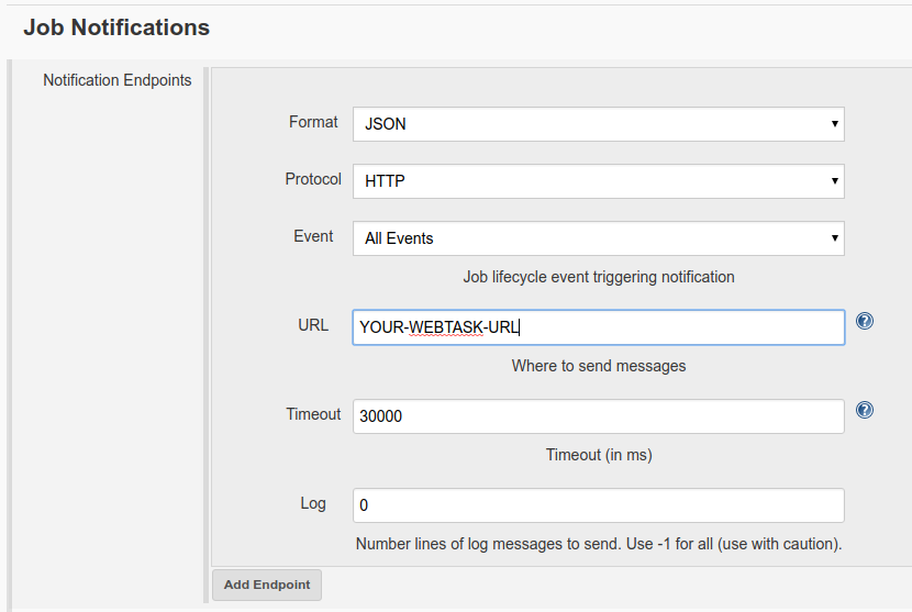 Add a notifications endpoint in the configure section of your build job