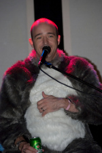 Jono in a raccoon suit