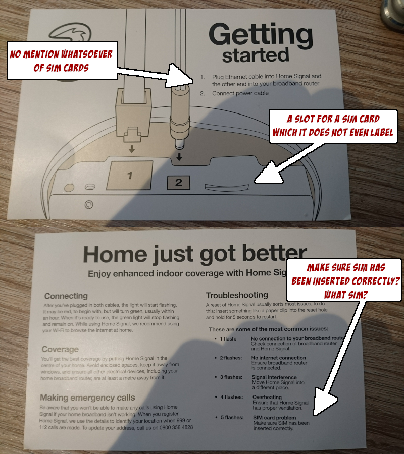 The Three HomeSignal user guide, which says to plug in the ethernet cable and the power, and does not at all mention that it also needs a SIM card