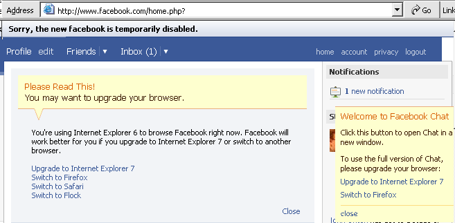 You may want to upgrade your browser [from IE6]