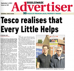 Peter Langridge in Biggleswade Advertiser paper, 2013-09-04 in an article about the Tesco car park