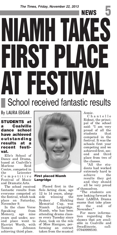 Niamh wins Leicester Drama Festival, 2013, Coalville Times article