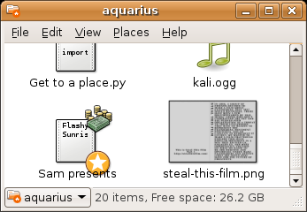 The 'Sam presents' file has a 'money' emblem.
