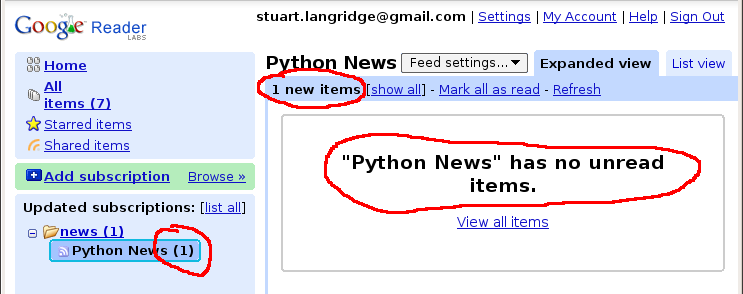 The left hand pane shows Python News with a (1) for one unread item, the header shows